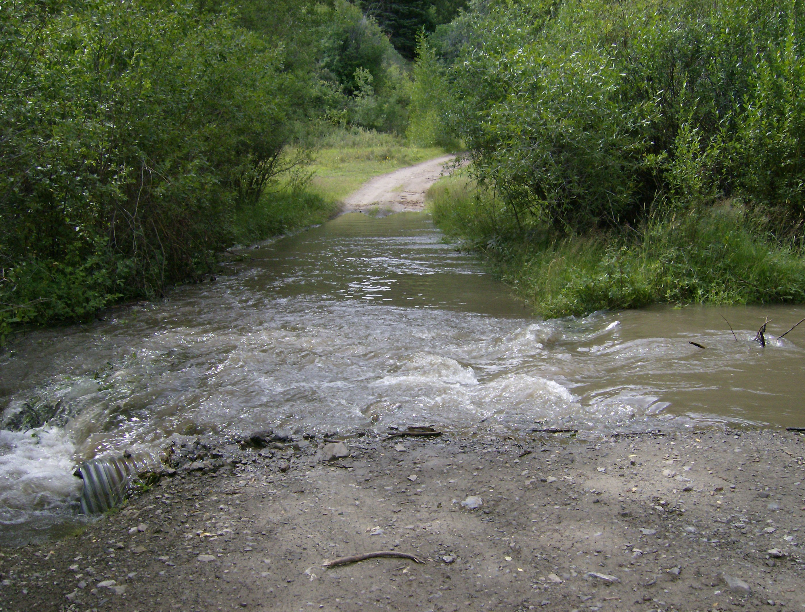 The flooded road