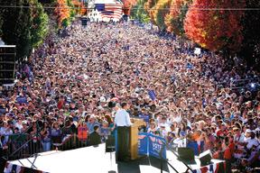 CHIEFTAIN PHOTO/JOHN JAQUES -- Sen. Barack Obama addresses the crowd lining Pueblo's Union Avenue on Saturday.